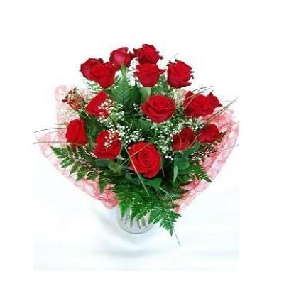 Ramo grande de 18 rosas rojas