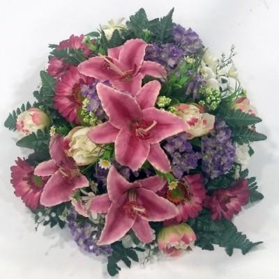 Centro de flor artificial en redondo (color y flor según stock)