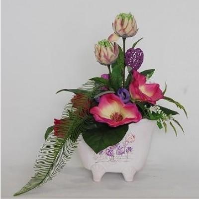 Centro de flor artificial en base ceramica