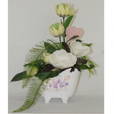 Centro de flor artificial en base cerámica, con forma de bañera