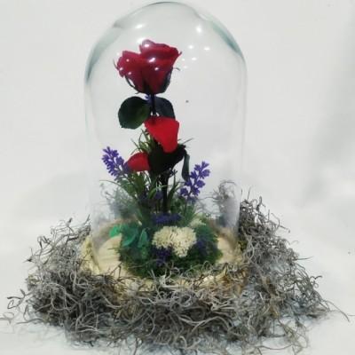 Rosa Eterna de cúpula pequeña con rosa roja  (también se hacen de colores)  llamar a la tienda para preguntar.