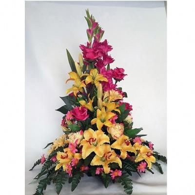Centro de flor variada artificial hecho a 3 caras